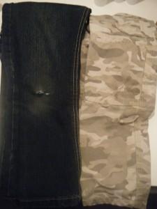 La collection été: à gauche le jean LIDL à 5€, à droite l'indestructible Vert Baudet à 20€