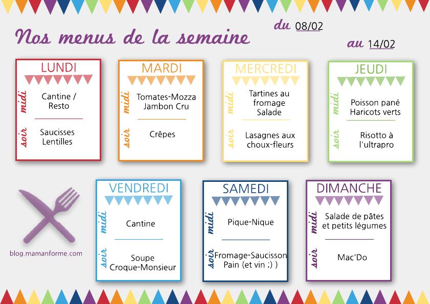 Nos id es menus pour la semaine 4 le journal d 39 une mam for Idee menu simple entre amis
