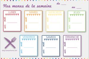 Semainier menu vierge - Idées menus pour la semaine - Idées menus famille nombreuse